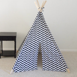 TexasTeePees - Chevron teepee, black, blue, or red and White Chevron Teepee, Tent, Made to Order