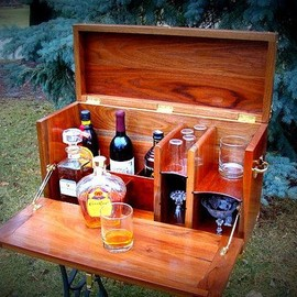 Portable bar perfect for camping (glamping), your backyard, or in your home.