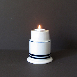 Vintage Dansk Candle Holder - Blue Stripe Ceramic Vase