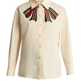 GUCCI - Trompe l'oeil bow cotton-poplin shirt