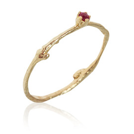 Alex Monroe - GOLD FINE TWIG RUBY RING