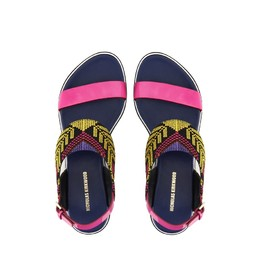 Nicholas Kirkwood - Mexican needlepoint embroidery flat sandals in navy and pink patent.