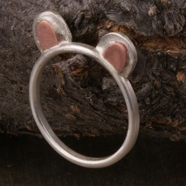 Teddy Bear Ears Ring Sterling Silver