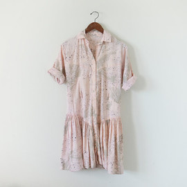1980s dusty pink dress / brush stroke print / western shirts dress