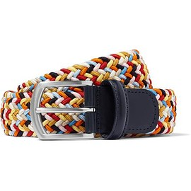 Anderson's - 3cm Leather-Trimmed Woven Elastic Belt