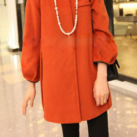 Elegant Loose Fitting Pure Color Worsted Coat