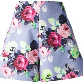Carven - 2014SS  floral a-line shorts