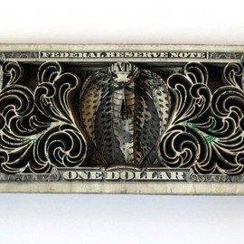 Skull Cube, 2010, Cut US currency 9x6x4 inches