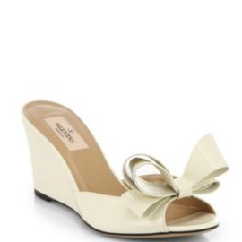 VALENTINO - Couture Patent Leather Bow Wedge Sandals