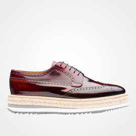 PRADA - calf leather laced derby shoe (BROWN+ORANGE)