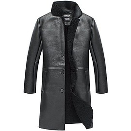 CWMALLS - CWMALLS® Mens Black Sheepskin Trench Coat CW838002
