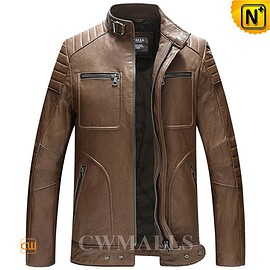 cwmalls - CWMALLS® Mens Washed Leather Moto Jacket CW806030