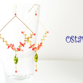 Ostara - 16k Gold Plated Square Earrings/Coral&Vintage glass