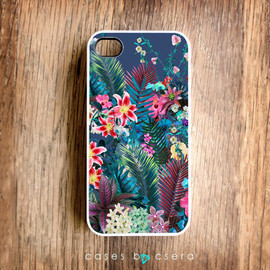 casesbycsera - Autumn Color Unique iPhone Case, iPhone 4 Case, Snap on Cell Phone Case Floral Case, Abstract Case Tropical Pattern iPhone Case