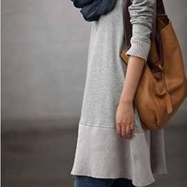 Cool gray sweatshirt dress with jeans, navy scarf, tan leather bag