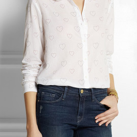 Chinti and Parker - Heart-print cotton-voile shirt