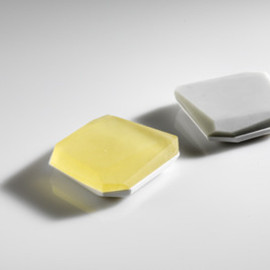 Andrea Walsh - faceted boxes (flat), bone china and glass, 2011, 1.75cm(h)