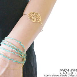 Ostara - Suede & Chain Bracelet/Turquoise Blue x Gold