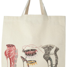 Manolo Blahnik - Canvas tote with illustrations by Manolo Blahnik
