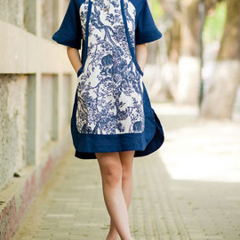 dress - comfortable Linen Short sleeved shirt dress