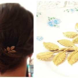 NestingPretty - 葉っぱの髪留め Gold Leaf Branch Bobby Pin Set