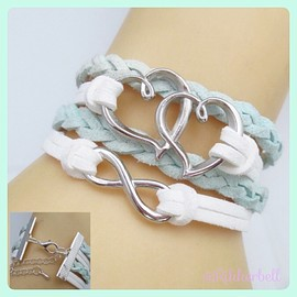 plamode - Charm Fashion Leather Bracelet Heart infinity Ice blue