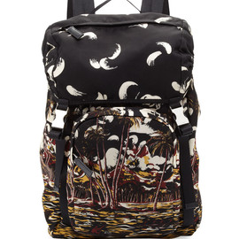 PRADA - Beach Scene Nylon Backpack, Multi