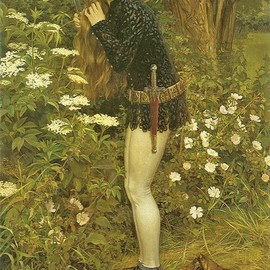 "Eleanor Fortescue-Brickdale, ""The Little Foot Page,"" based on the story of Burd Helen, a tragic heroine from Scottish balladry, who dressed as a boy page to follow her cruel lover on foot while he rode on horseback. After bearing him a child, she was finally acknowledged by him and they married. Here she is shown secretly doffing her female attire and cutting her long hair, in preparation for her journey."