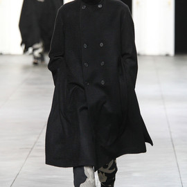 Dior Homme - Astrakhan-Effect Black Cashmere Double-Breasted Raised Collar Coat, Long Center-Back Zip
