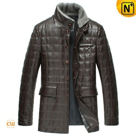 CWMALLS - Brown Leather Padded Coat for Men CW829256
