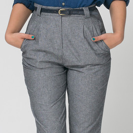 American Apparel - Chambray High-Waist Pleated Pant