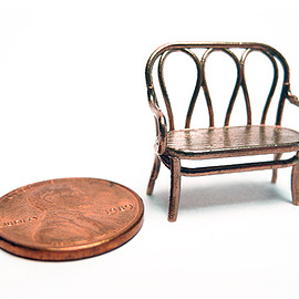 Shapeways - 1:48 Bentwood Settee 3d printed Printed in Raw Bronze