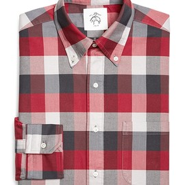 BLACK FLEECE BY Brooks Brothers - BUFFALO CHECK OXFORD SHIRT Red-Grey