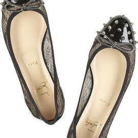 Christian Louboutin - Black patent leather and lace studded ballerina flats