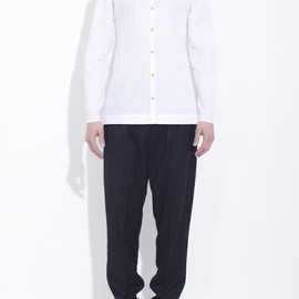 honest by. Bruno Pieters - White organic cotton shirt with wooden buttons