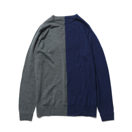 SOPHNET. - ANTIPILING WOOL CREW NECK KNIT 2 TONE PANEL/grey×navy