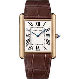 Cartier - Tank Louis Cartier extra-flat watch Manual, pink gold, leather W1560017