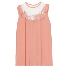 miu miu - SILK SLEEVELESS TOP WITH LACE