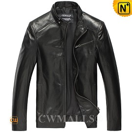 CWMALLS - CWMALLS® Black Leather Bomber Jacket CW806037