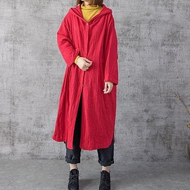 Oversized hooded coat - Women Long thin coat, Loose Fitting Blouse for Women