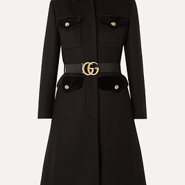 GUCCI - Belted velvet-trimmed wool-blend felt coat