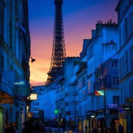 Dusk, Paris - BLUE: ORANGE: sunset