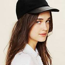 Free People - leather brim hat