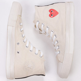 COMME DES GARCONS PLAY - Image of COMME des Garcons PLAY Converse High Top Sneakers in Cream