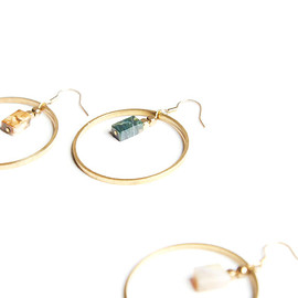 Juerly - Circle ' Ocean stone earring - 海洋石大圈耳環