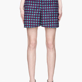 MARNI - Bright purple and turquoise patterned Shorts