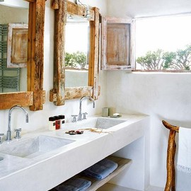 Wood Frame Mirror & Concrete Sink