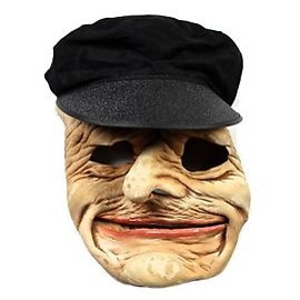 VINTAGE - Vintage 1990s 90s 1992 Be Something Studio Black Hat Old Man Halloween Mask