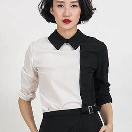 choies - Monochrome Pointed Collar Contrast Zip Back Shirt