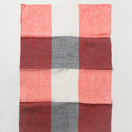 MARGARET HOWELL - BLOCK CHECK TEA TOWEL PINK
